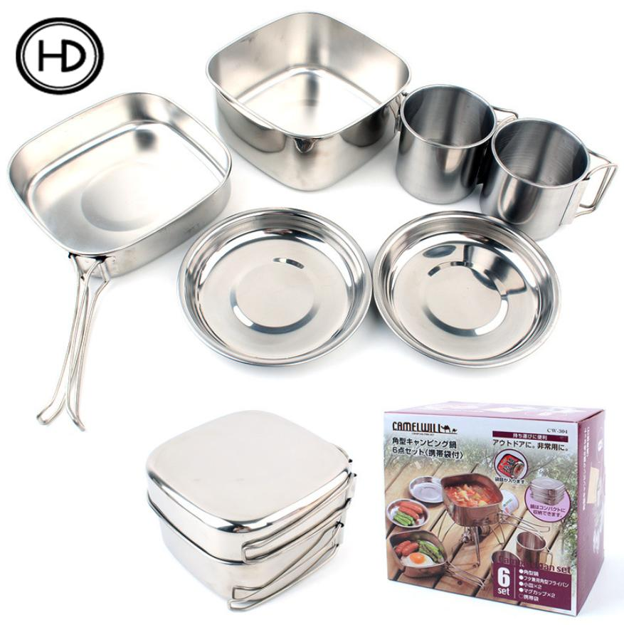 Outdoor camping tableware set of 6 pots, stainless steel cookware, mountaineering picnic, set