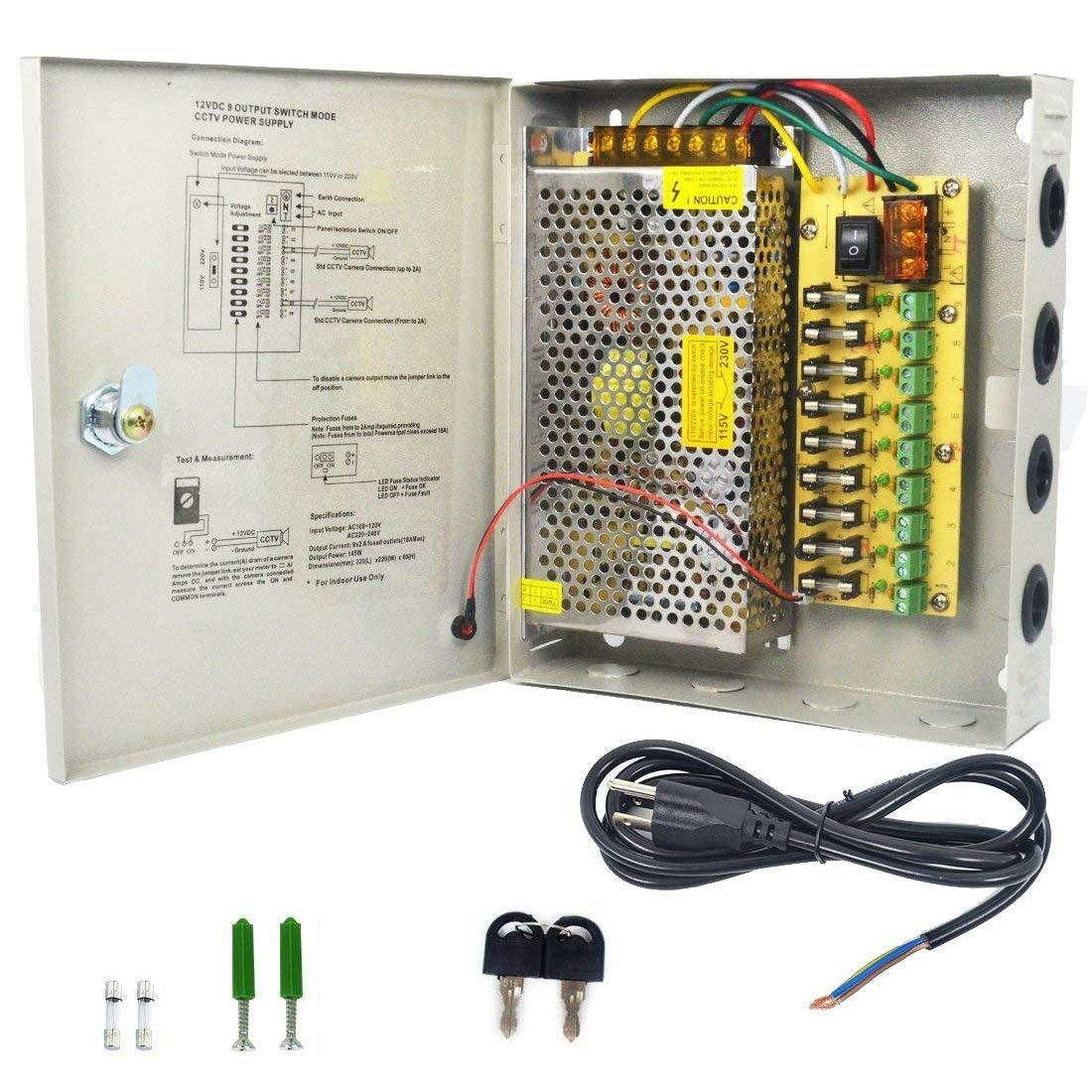 CCTV 9 Channel Fused Centralized Distributed Power Supply With Box 9CH 12V 10A