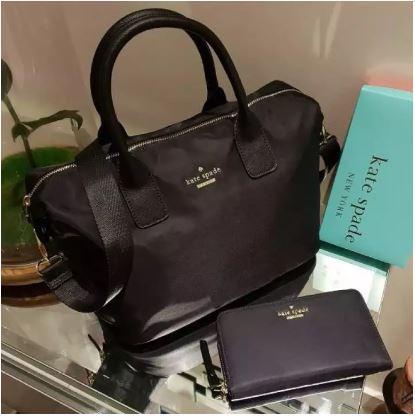 756844a685 Kate Spade Classic Weekender Bag - Lyla Black   Classic Nylon Wallet Lyla -  Black