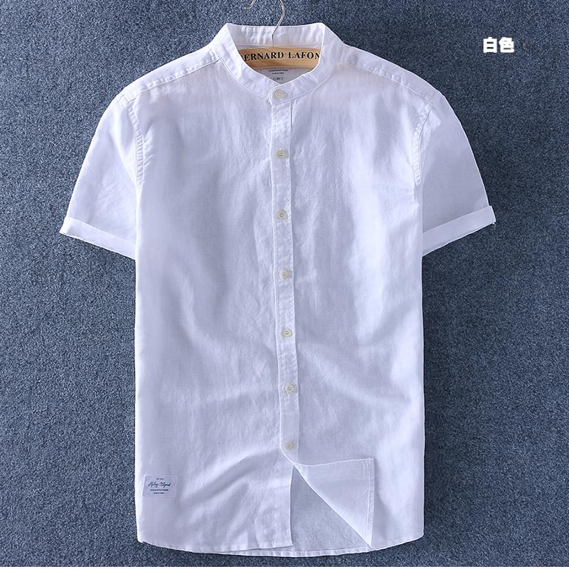 8039bbd47127 Short Sleeve Linen Shirt man Summer Thin Section Cotton Linen Stand Collar  Half Sleeve Shirt Hipster