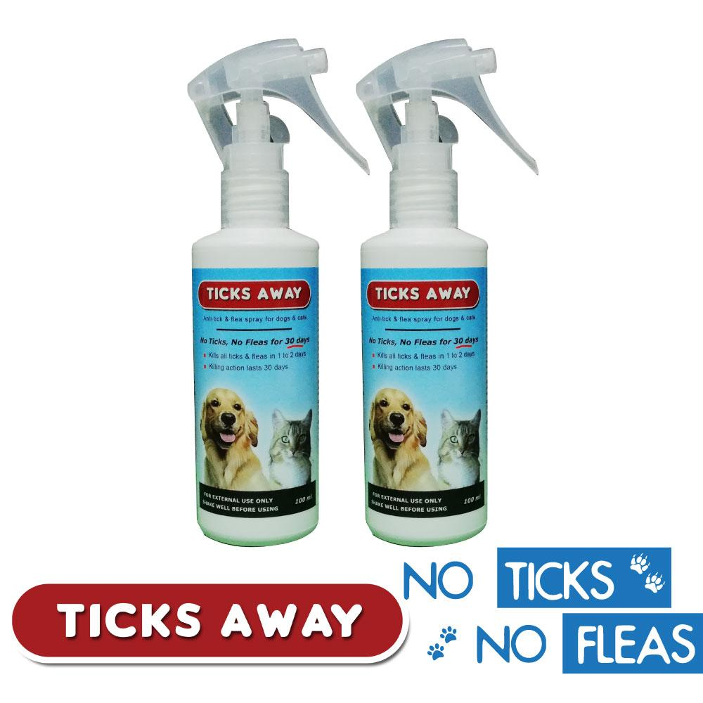Ticks Away 100ml Pet Spray for dogs & cats - Set of 2 - anti tick