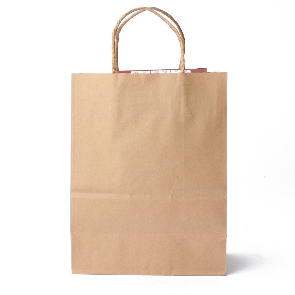 20pcs Kraft Brown Twisted Handle Ping Gift Merchandise Paper Carrier Retail Bags 21x11x27cm