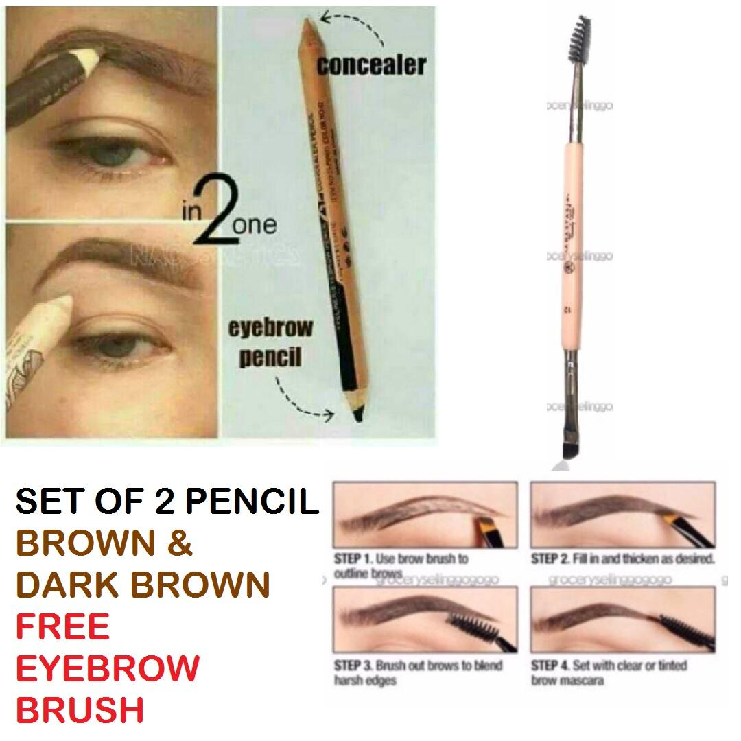 2in1 Eyebrow & Concealer Pencil SET OF 2 W/ FREE Eyebrow Brush Philippines