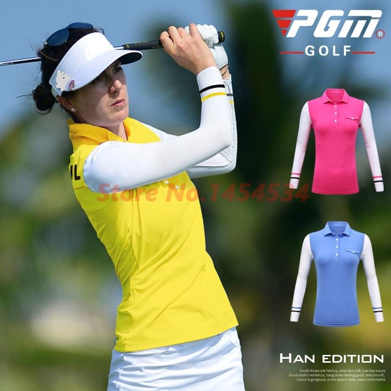 New 2018 Golf Clothes Lady Sunscreen Primers Women's Milk Silk Stitching Long Sleeved Trainning T Shirt
