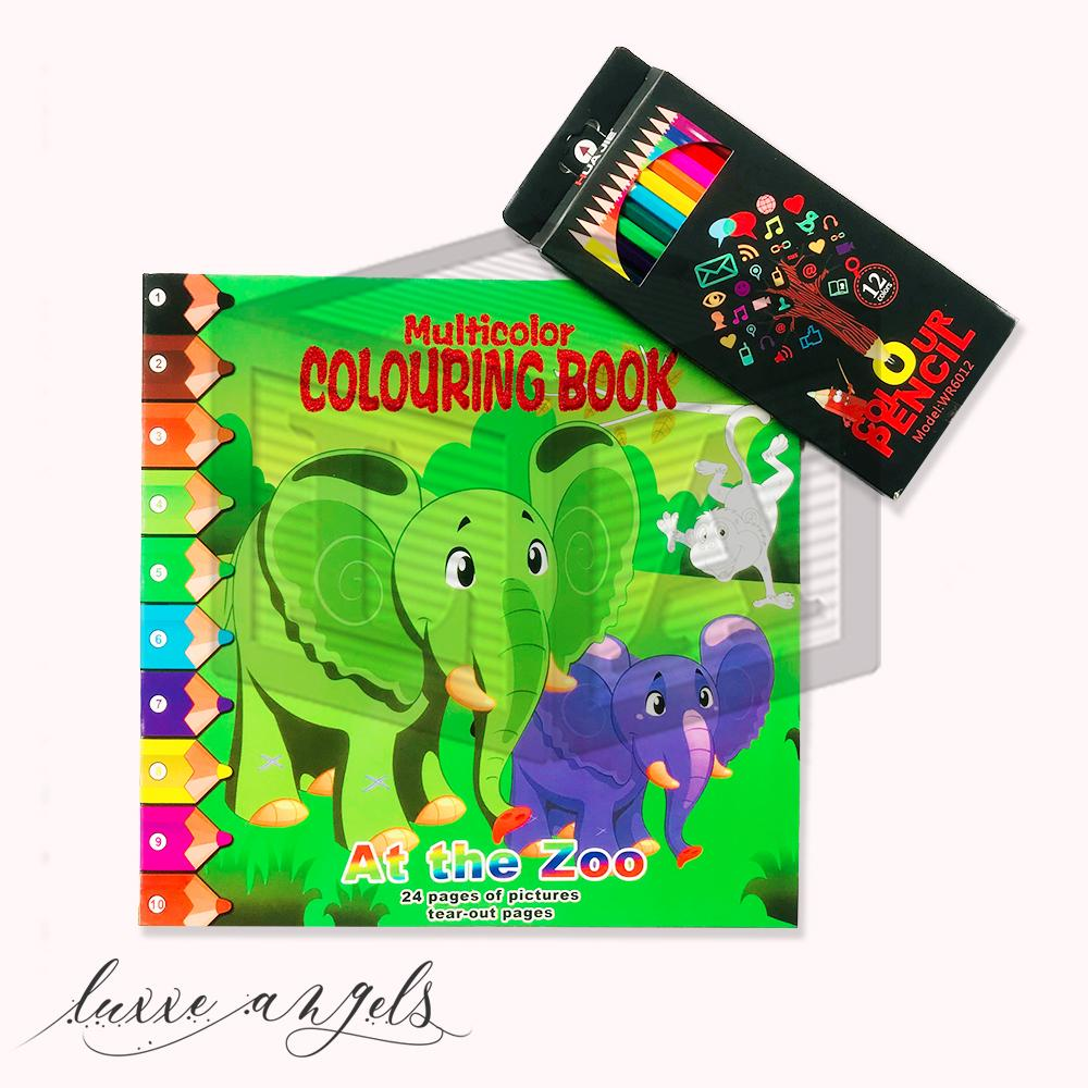 Multicolor Colouring Book At The Zoo