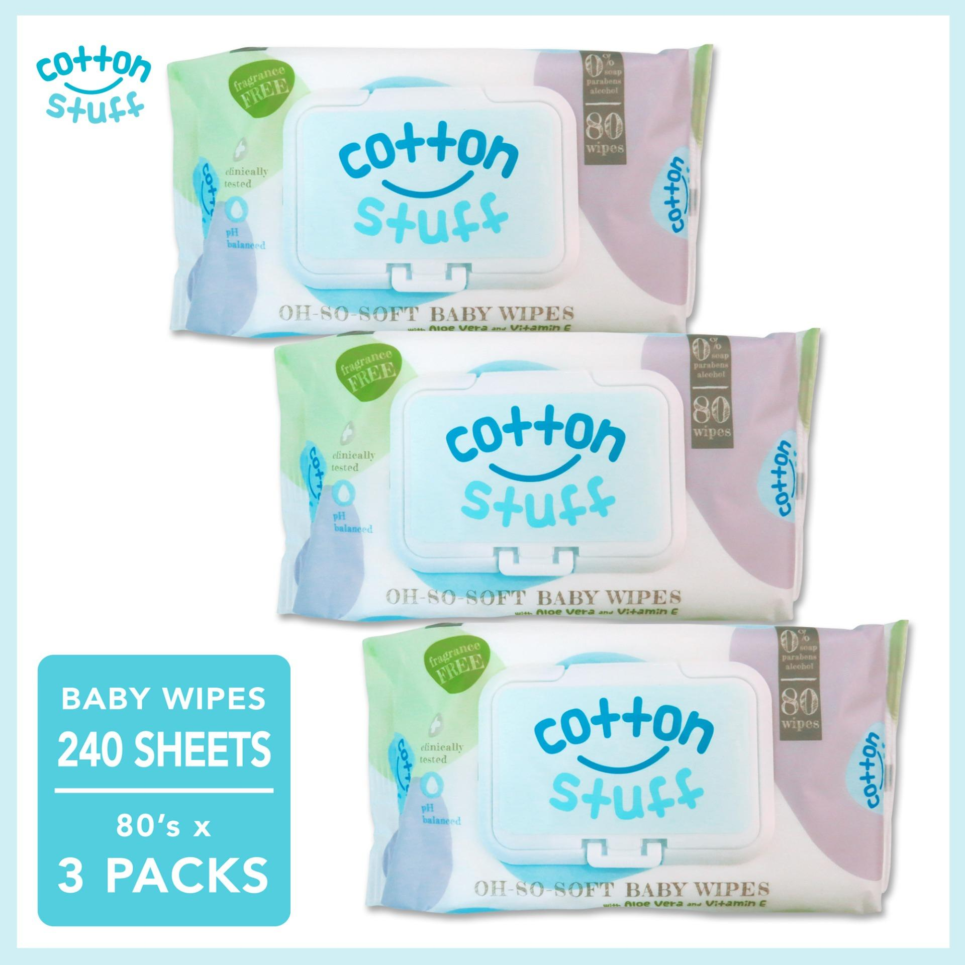 Cotton Stuff Baby Wipes (Fragrance Free) 80's x 3 packs