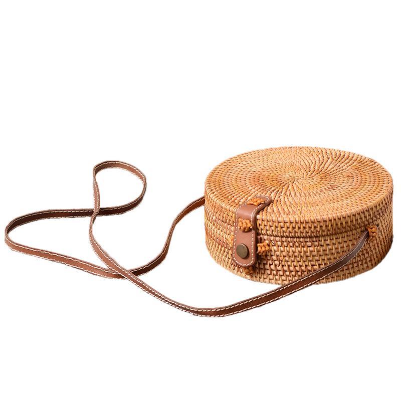 fb6157339198fb Bali Vintage Handmade Crossbody Leather Bag Round Beach Bag Girls Circle Rattan  bag Small Bohemian Shoulder