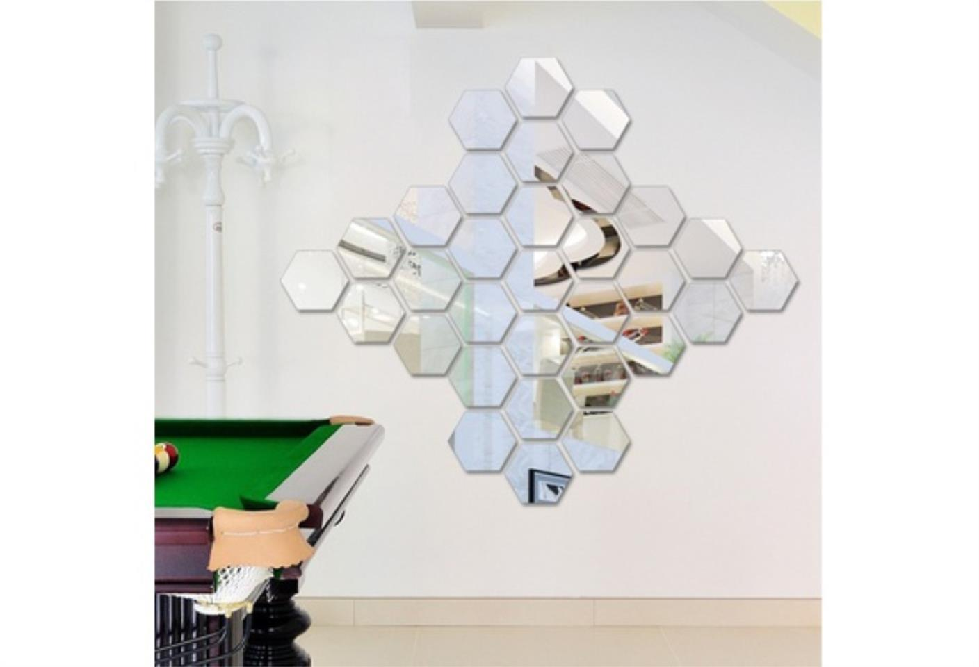 12pcs /set Hexagonal Mirror Wall Sticker Diy Brick Wall Stickers Living Room Decor Foam Waterproof