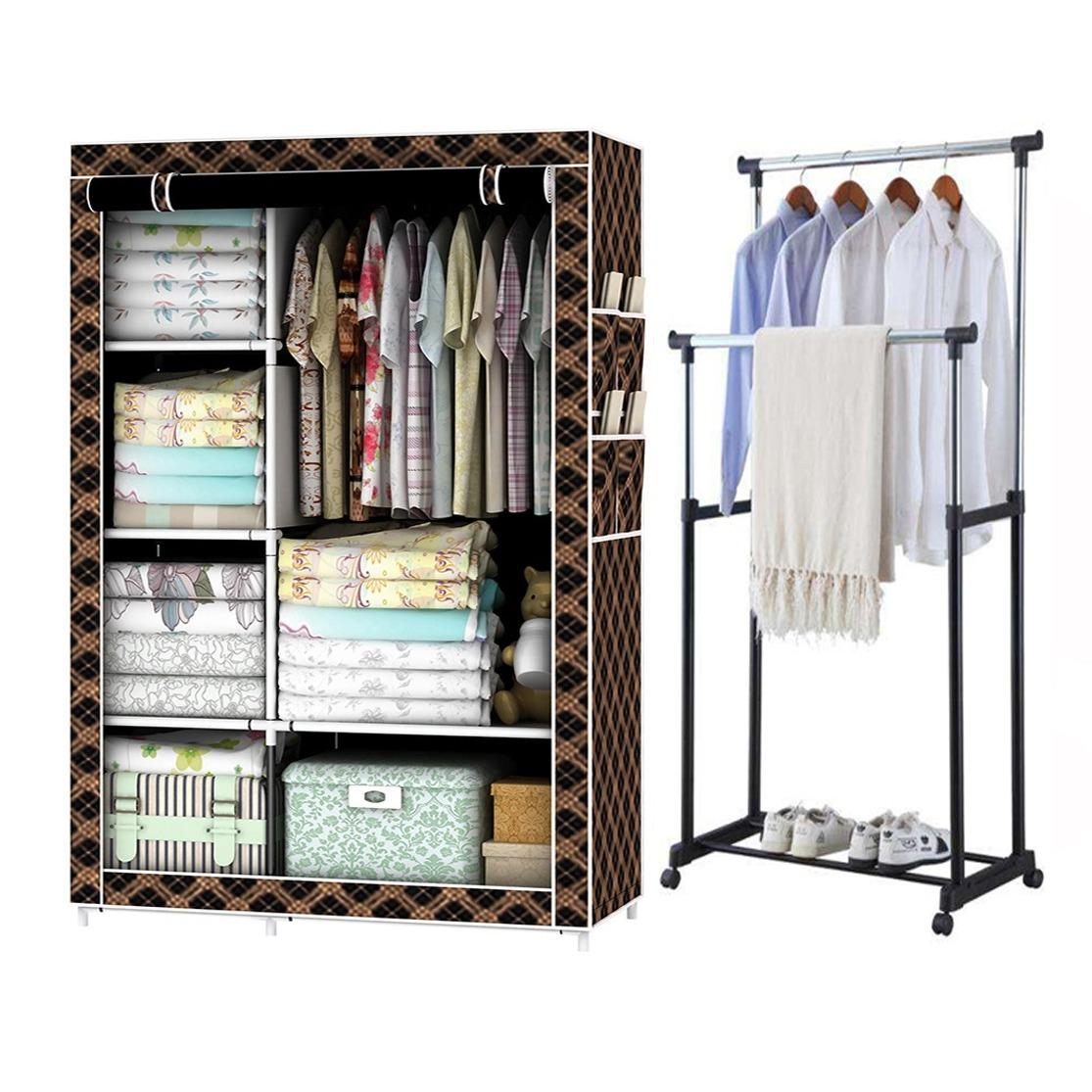 Cheap Wardrobe Closet Part - 28: 105NT Storage Wardrobe Cabinet (Brown Stripe) With Adjustable Double Pole  Clothes Rack