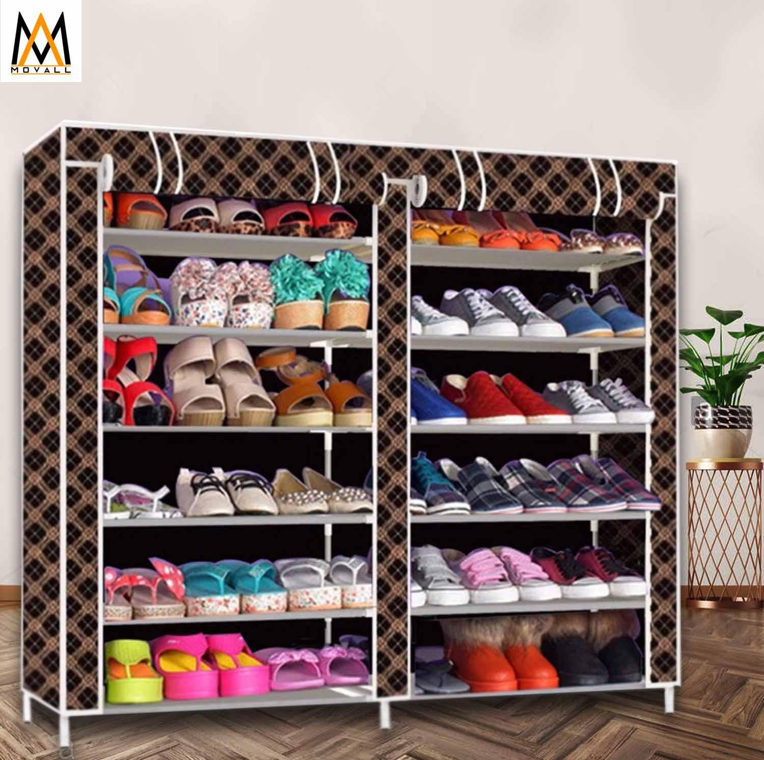 6-Tier Double Cabinet Shoe Rack Storage Cabinet Organizer K66 By Movall.