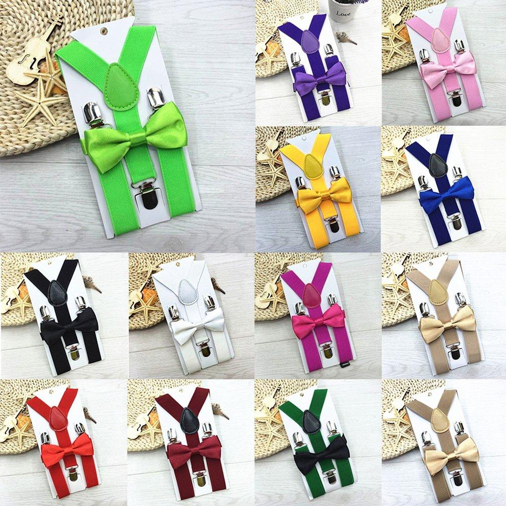 Polyester Kids Design Suspenders And Bowtie Bow Tie Set Matching Ties Outfits By Caihui.