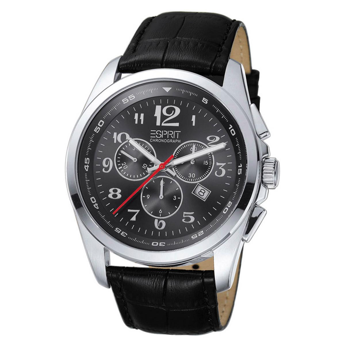 682a9dd9559c Esprit Multifuction Black Stainless-Steel Case Leather Strap Mens  ES102201001