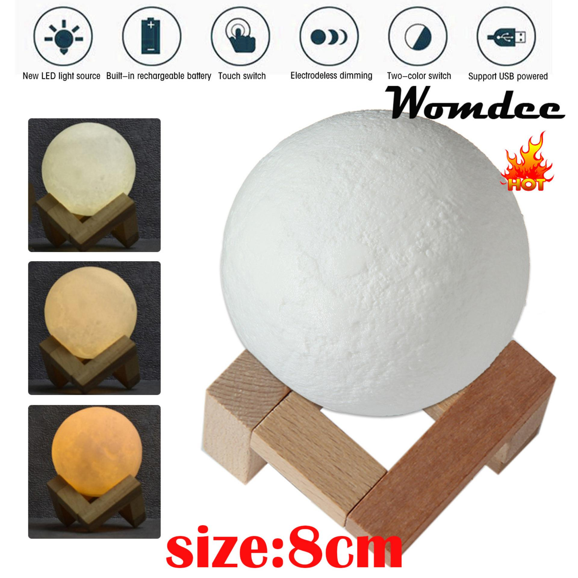 Night Light For Sale Mini Lights Prices Brands Review In Ac 3 Way Desk Parts Touch Control Sensor Lamp Switch Dimmer Womdee 3d Moon 8cm Brightness Usb Charging Table Moonlight With Wooden
