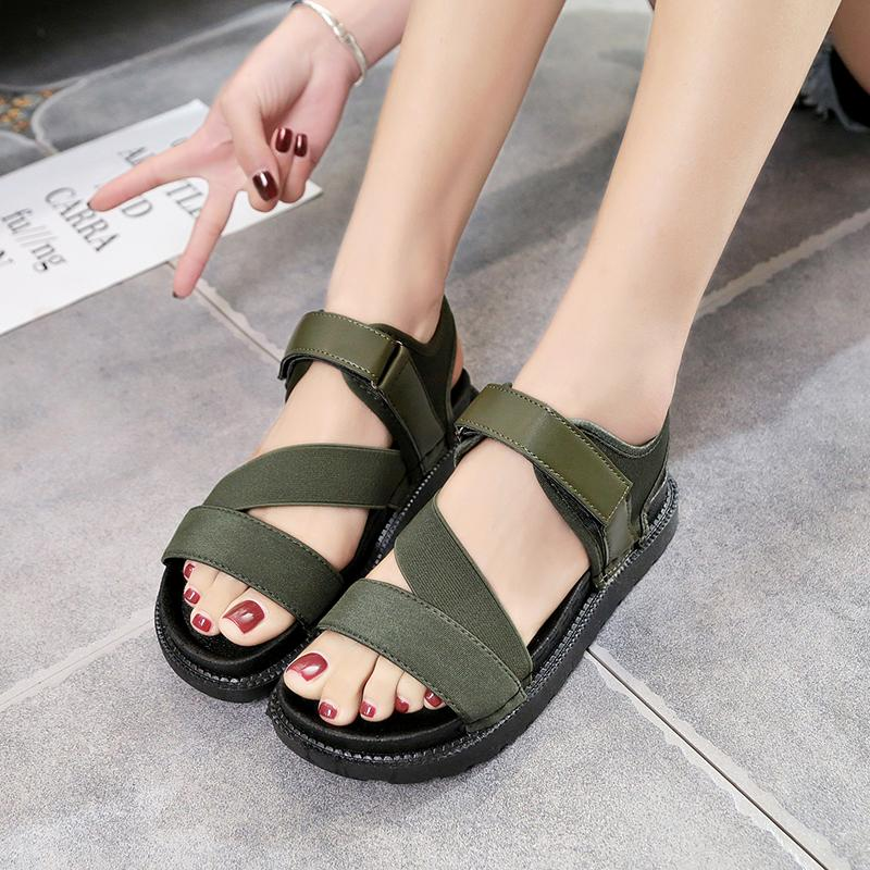 c0977aba674 Thick Bottomed Muffin Sandals 2019 Summer New Style Korean Style Versatile  Students Flat Leisure Soft Girl