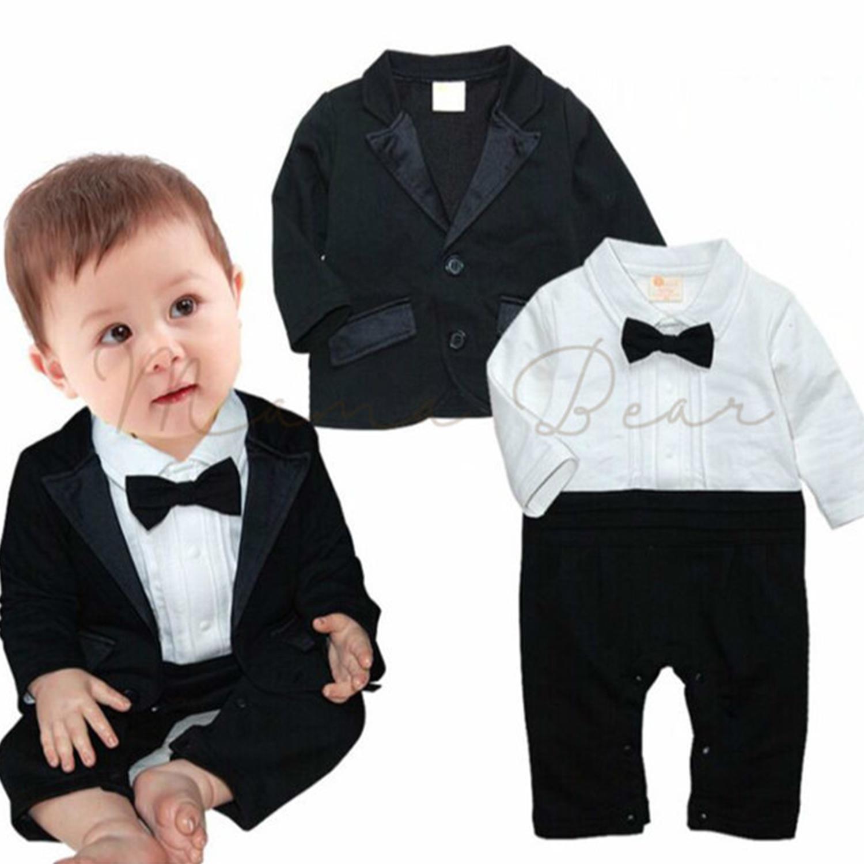 Little Gentleman Baby Boy Rompers Baby Black Tuxedo w  Coat Set Baby Boys  Tuxedo Wedding f8a6c3e846