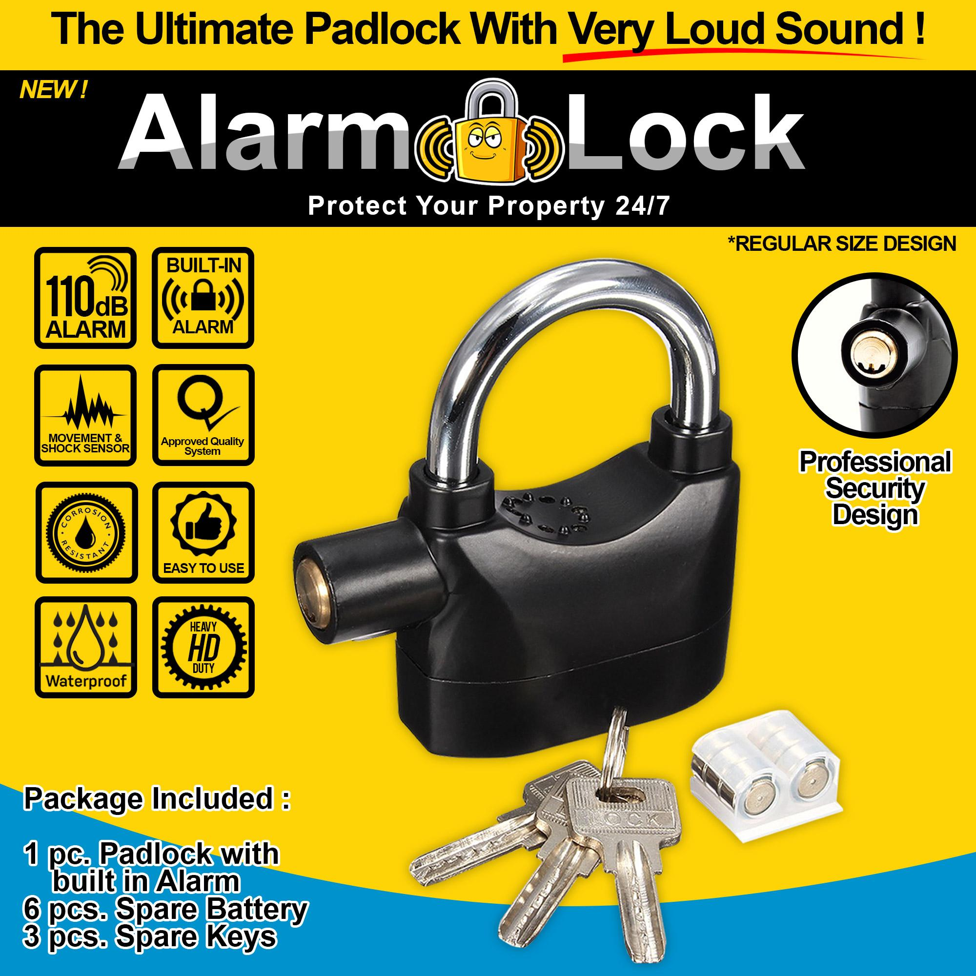New High Quality Loud Siren Alarm Lock Anti Theft Security System Padlock  110Db Hardened Steel Great For Motorcycle , Electronic Bike ,Bicycle &  Other