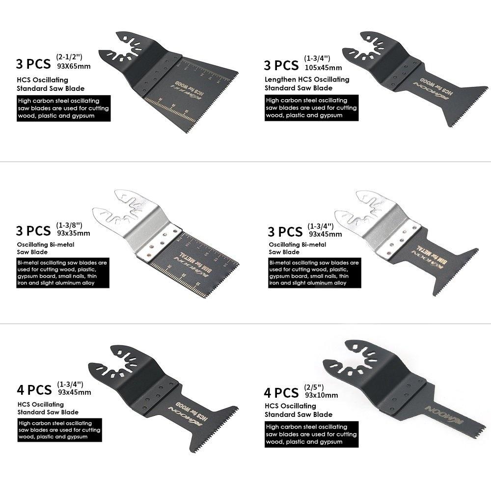 KKmoon 20pcs Wood Metal Oscillating Multi Tool Quick Release Saw Blade for  Dremel Fein Multimaster Makita Bosch Craftsman Porter Rockwell Cable Black