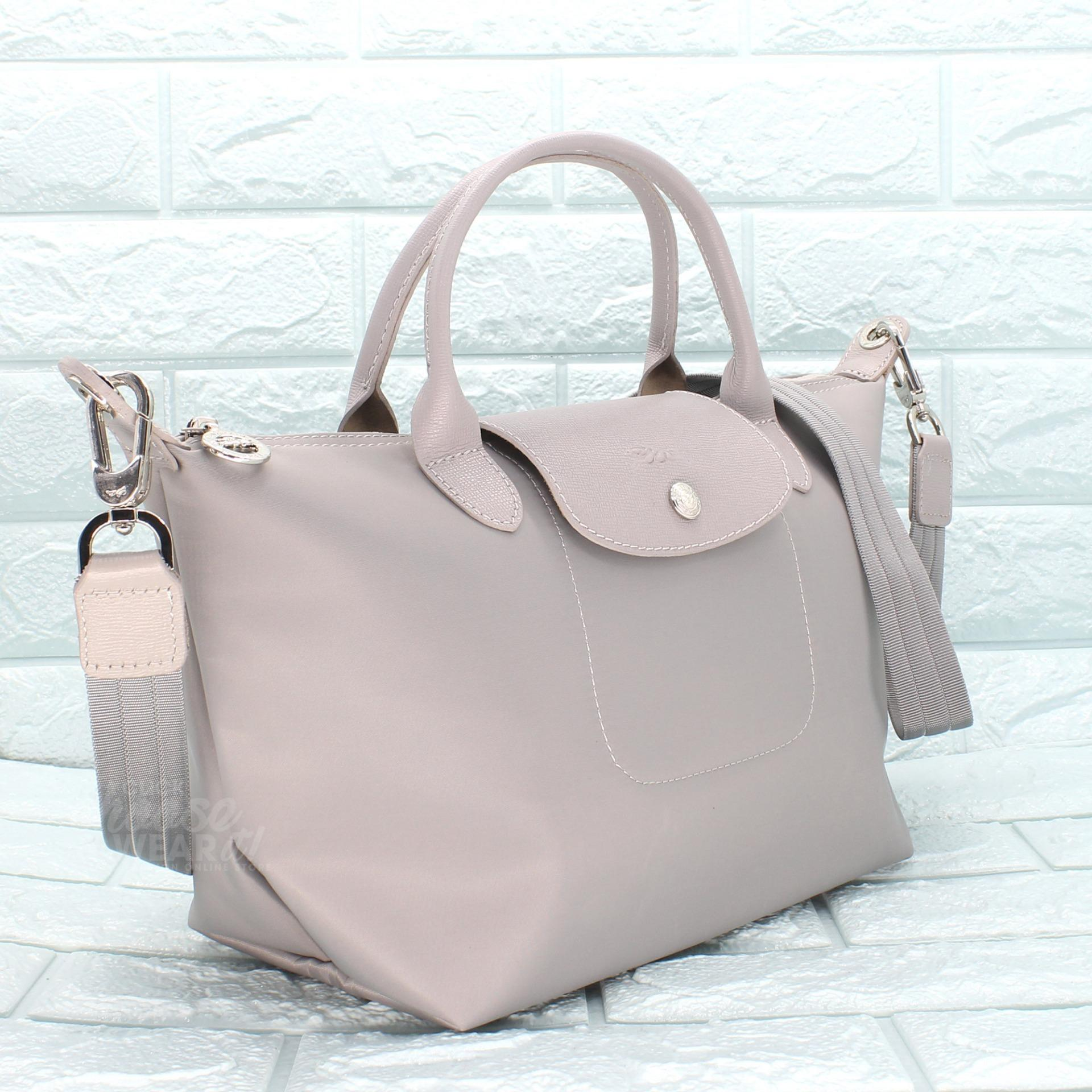 Buy Sell Cheapest Made In France Best Quality Product Deals Longchamp Neo Small Black Authentic Le Pliage Top Handle Tote Light Gray