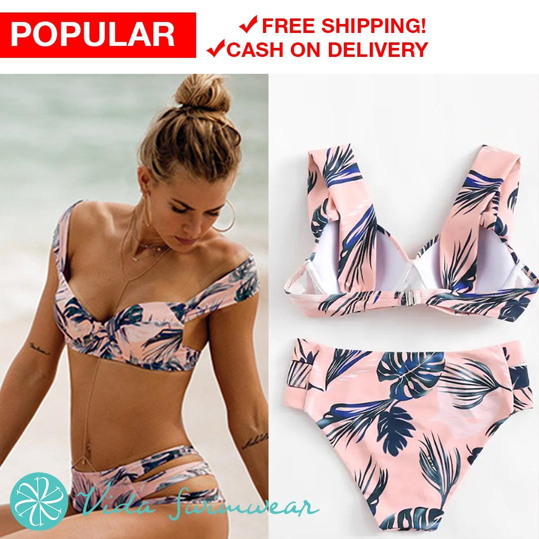 adf9d9725f6 Tropical Leaf Print Two Piece Tri-Cut Bottom Swimsuit Retro Tropical Palm  Leaf Floral Bikini