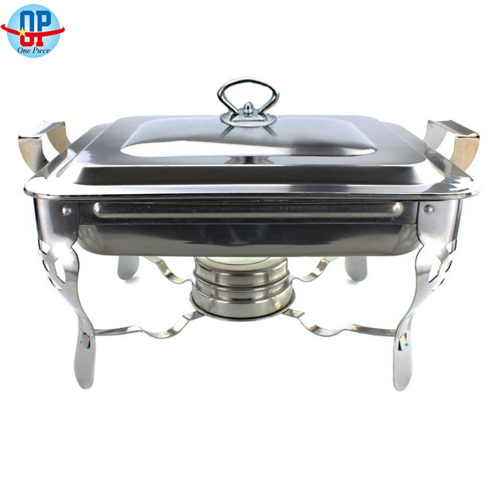Stainless Steel Food Warmer Chafing Dish With Fuel Alcohol Holder By One Piece.