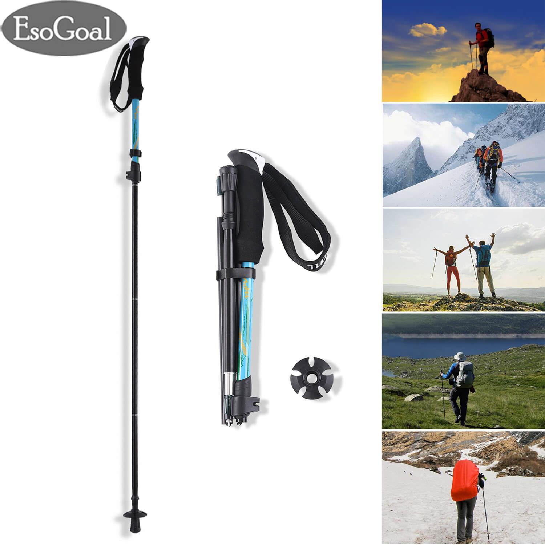 fc21fe13cbda6 EsoGoal Trekking Poles Hiking Walking Stick Trail Poles Walking Cane  Adjustable Anti-Shock Foldable Walking Stick Lightweight Stick Outdoor  Hiking ...