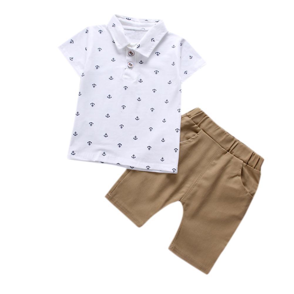 ddfbe98eb Summer Boy Clothes Set Baby Short-Sleeve Printed Polo T-Shirt & Shorts  Birthday