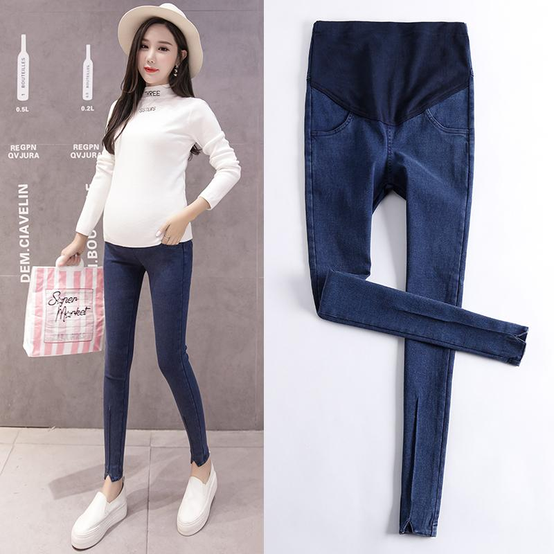 ccf2df864db4 Pregnant Women Autumn Clothing Slit Hem Slimming Significantly Higher than  Skinny Pants Trousers Winter Leggings 2018