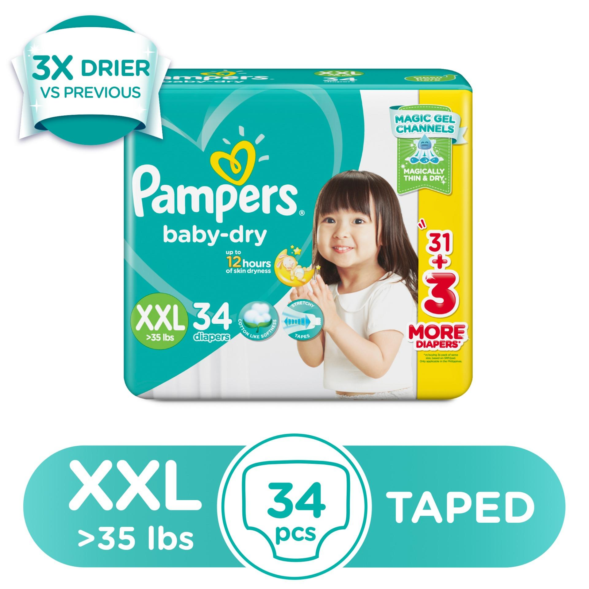 Pampers Philippines Price List Diaper For Babies Premium Care Tape Nb 52 Baby Dry Xxl 6 11 Kg 34 Pcs X 1 Pack