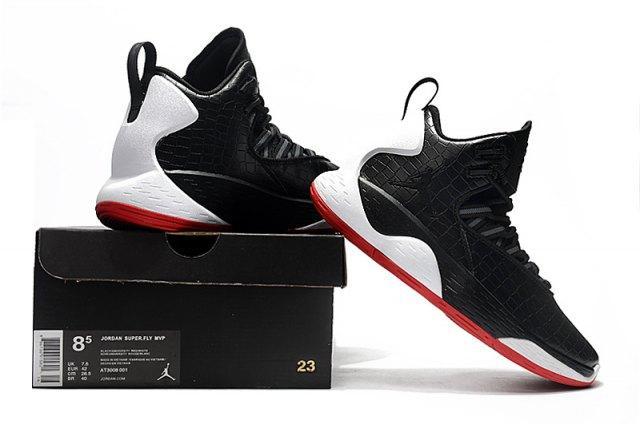 9ef6de5116f0 Advanced Jordan Super.Fly MVP Black White University Red Black AT3005 001  Men s Basketball Shoes