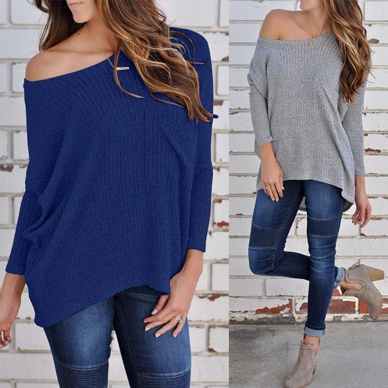 b609af82131 Product details of ZANZEA Women Off Shoulder Rib Knit Shirt Tops Casual  Blouse Jumper Batwing Tops Blue - intl