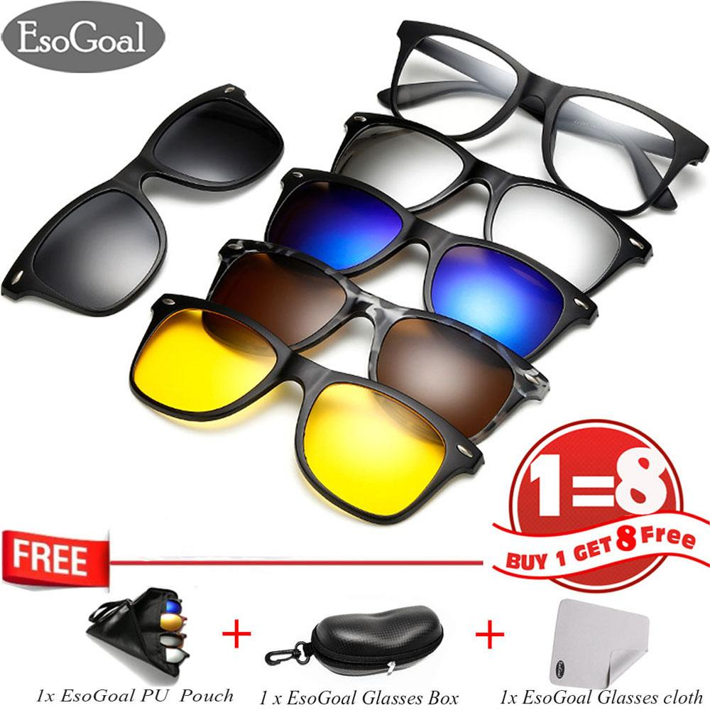EsoGoal Magnetic Sunglasses Clip On Glasses Unisex Polarized Lenses Retro Frame with Set of 5 lenses