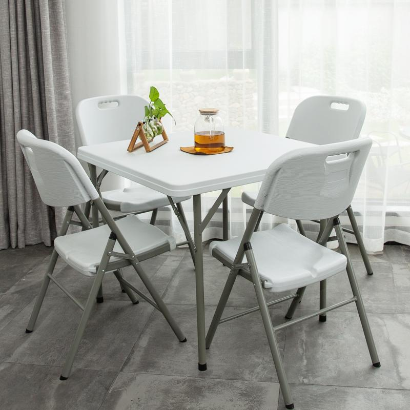 Philippines JWD Best Selling Newest High Quality Square Plastic Foldable Table With Steel Legs Chairs