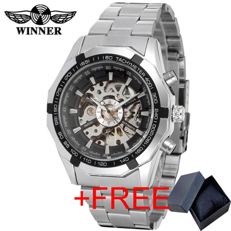9e2b7443ae7 Brand WINNER Watch Luxury Fashion Vintage Steel Stainless Clock Black Roman Dial  Automatic Mechanical Skeleton Wristwatch