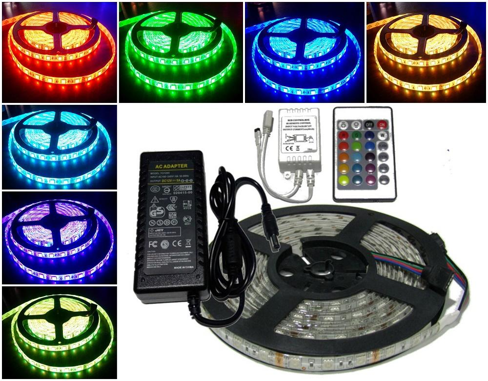 Complete Set LED Strip Light 16color RGB smd5050 5meters with Remote and 220v Adaptor for ceiling