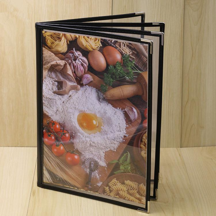 Transparent Cover Menu Book with 4 pages 8 faces Menu holder Menu Jacket  Menu Clip Menu stand Menu board Advertising book Display book Brochure
