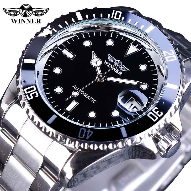 96903644cb Top Luxury Brand WINNER Black Watch Men Casual Male Automatic mechanical  Watches Business Sports Military Stainless