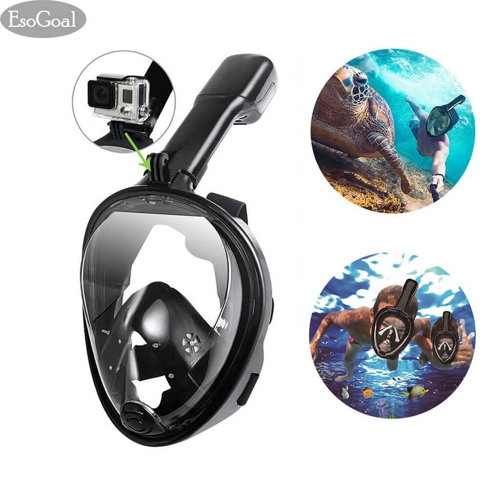 Esogoal Full Face Snorkel Mask, Seaview 180°, Full Face And Anti-Fog Anti-Leak Design For Snorkeling, Gopro Compatible, Longer Snorkeling Tube By Esogoal.
