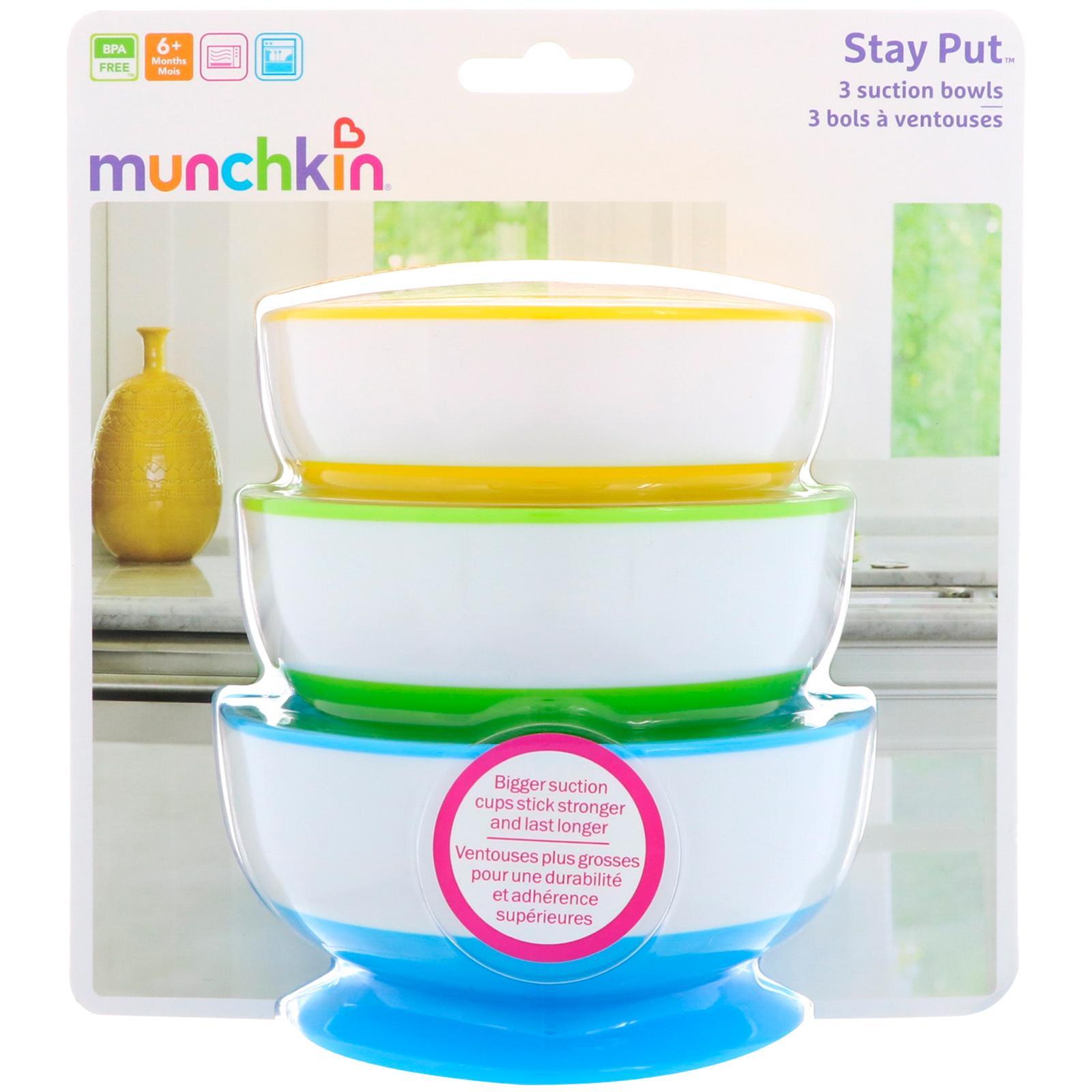 Cheap Sale Munchkin 3 White Hot Bowls 6m+ Bowls & Plates