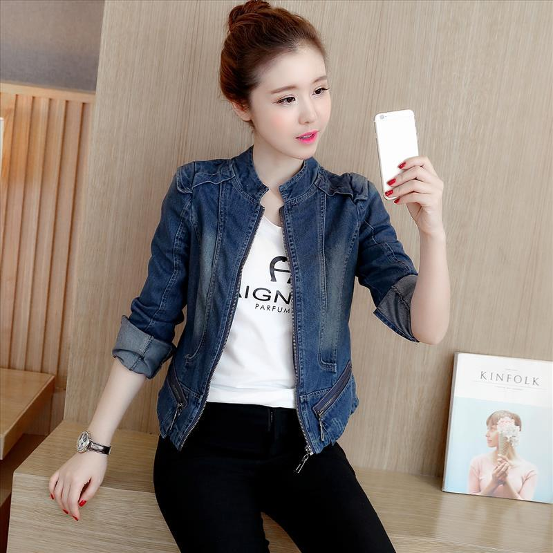 8f67a3b7878cc Spring And Autumn New Style Cowboy Short Coat Fashion Slim Fit Slimming Long  Sleeve Zipper Pocket