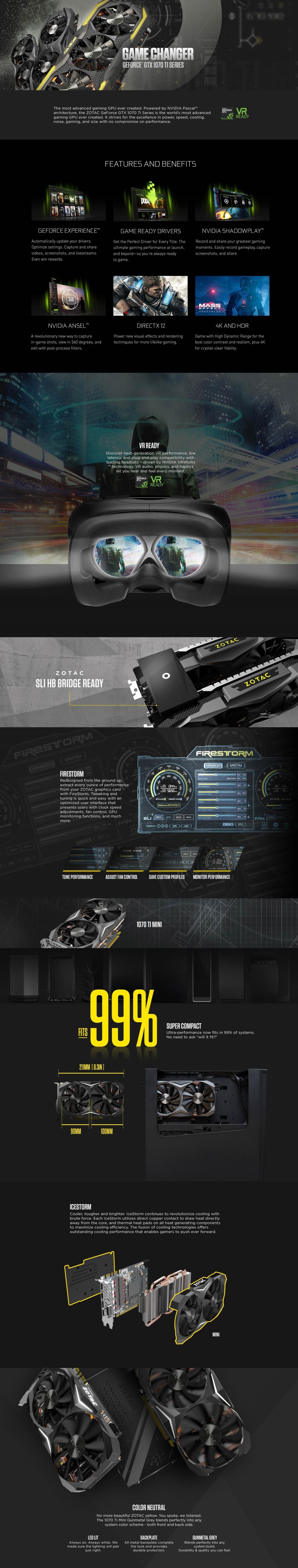 ZOTAC GeForce GTX 1070 Ti Mini ZT-P10710G-10P 8GB 256 bit GDDR5 Dual Fan  IceStorm Graphic Card - JOINED CLEARANCE SALE