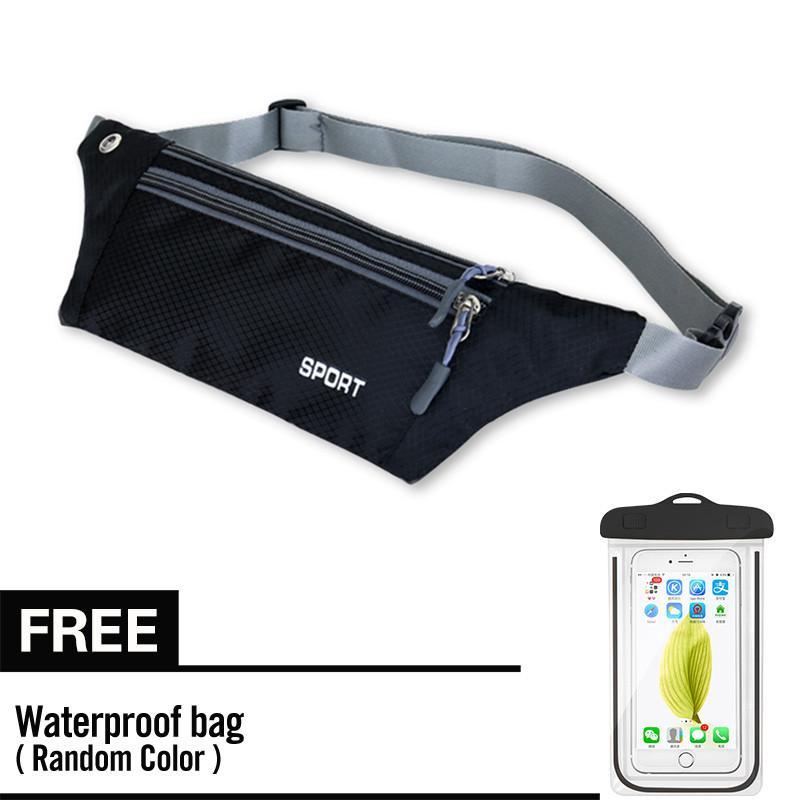 Waterproof Waist Belt Zip Pouch Pack Pocket Bag Outdoor Sport Gym Running with Free Cellphone Waterproof