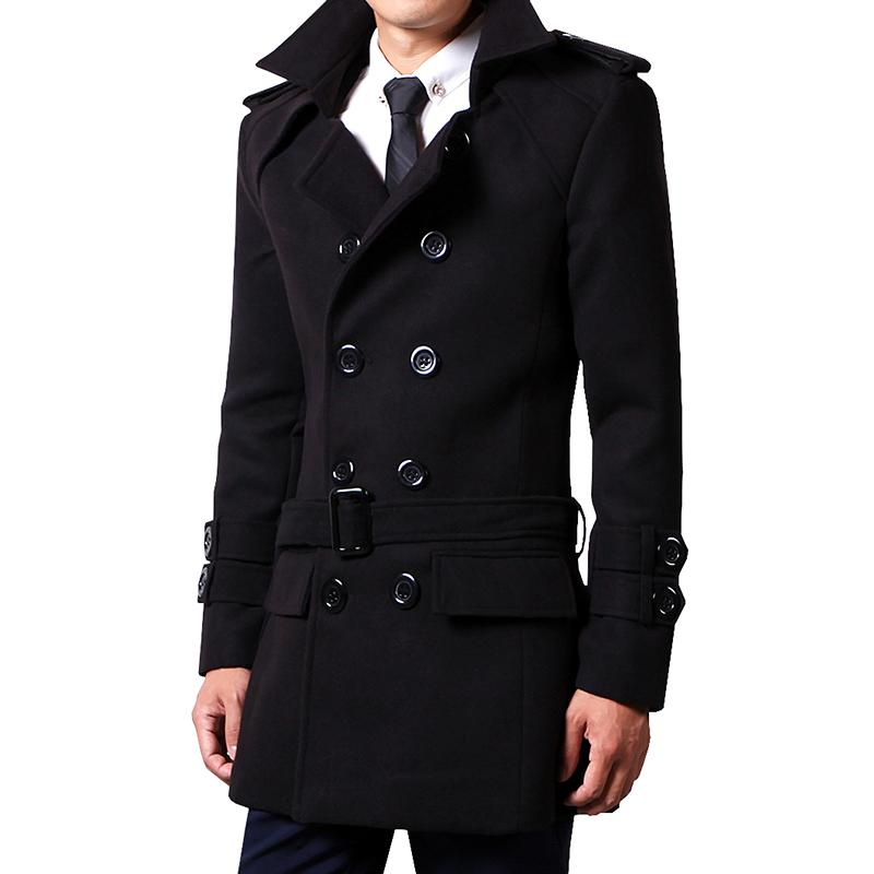 4d6057615464e Winter Men Woolen Coat Mid-length Autumn Double Breasted Youth Trench Coat  Slim Fit Korean