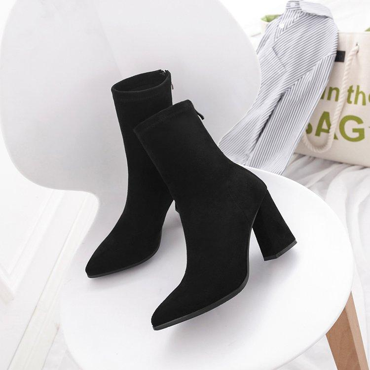 2018 New Style Short Boots women Autumn And Winter Block Heel Stretch Boots women Shoes High