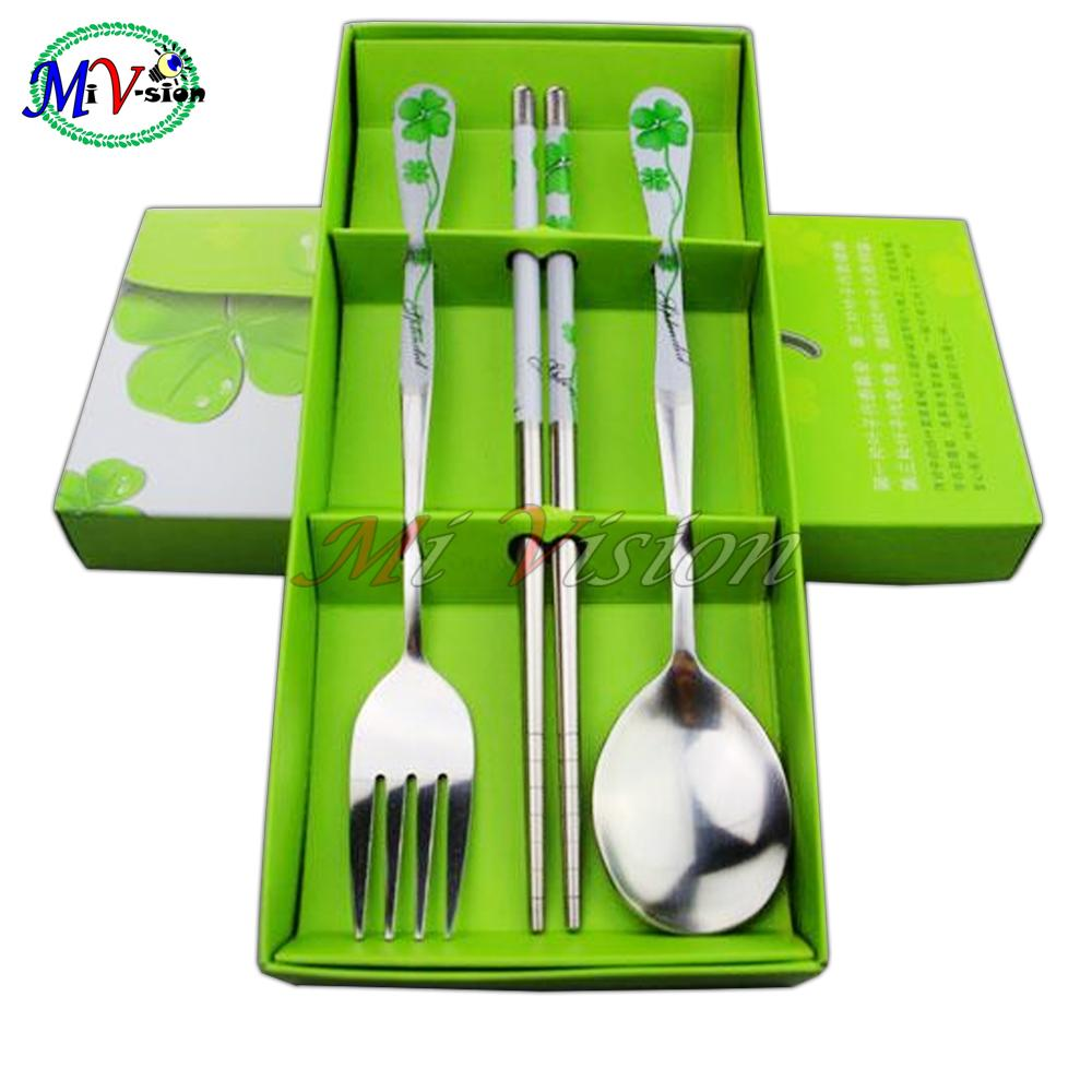3pcs Set Spoon, Fork And Chopstick Green By Mi Vision.