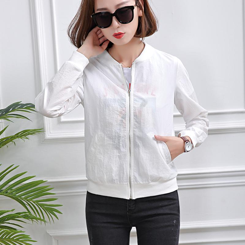 2018 New Korean Version of Spring And Summer Sun Protection Clothing Students Short Thin White Leisure