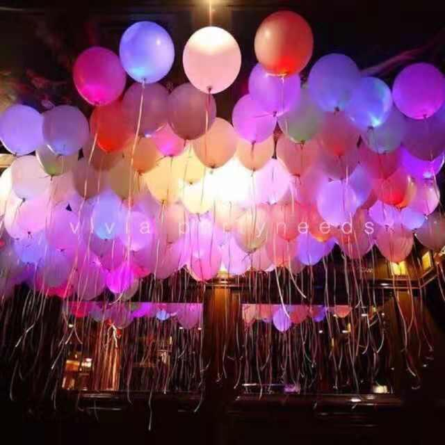 Led Light Balloons 12inches Rainbow Pretty Partyneeds 5pcs/pack By Ariana Shop.
