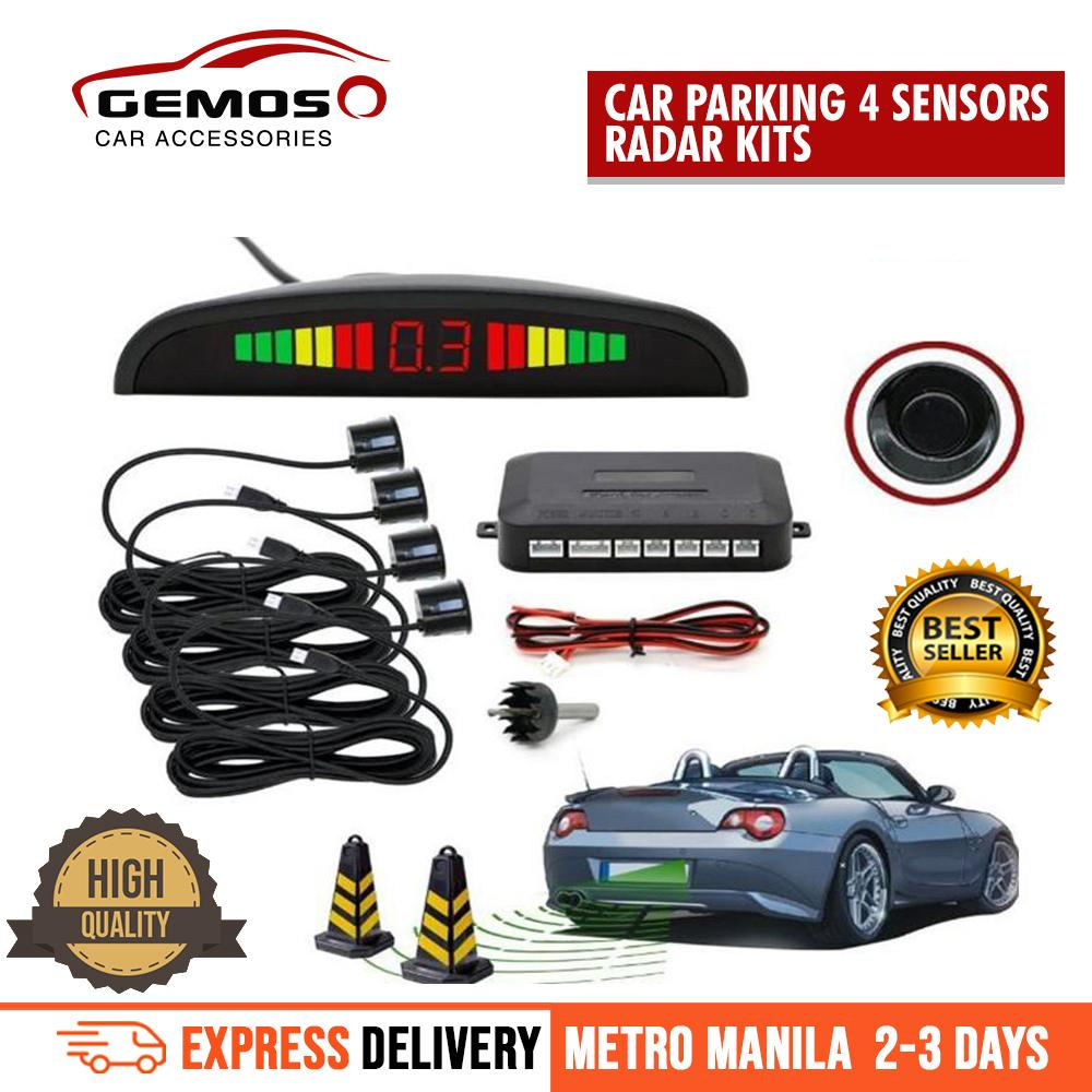 Car Parking 4 Sensors Led Reverse Radar Kit With Digital Colored Led Display (black) By Gemos Car Accessories.