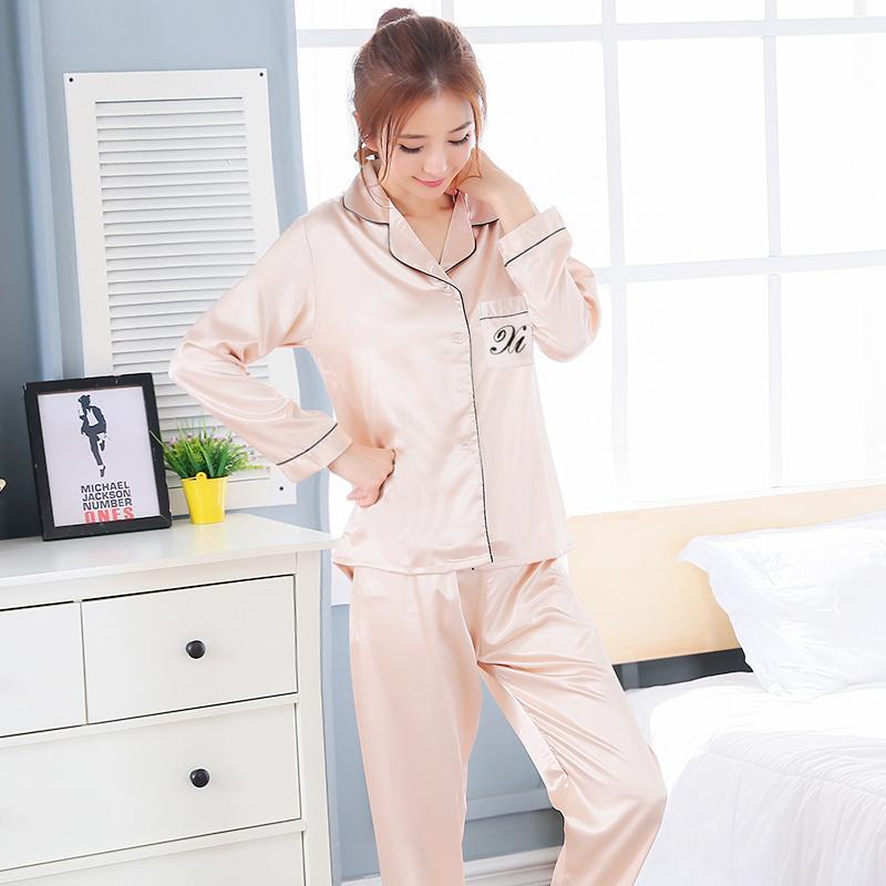 8a41592df564 Korean Style Spring And Autumn Pajamas women Viscose Long Sleeve Thin Two-Piece  Set Silk