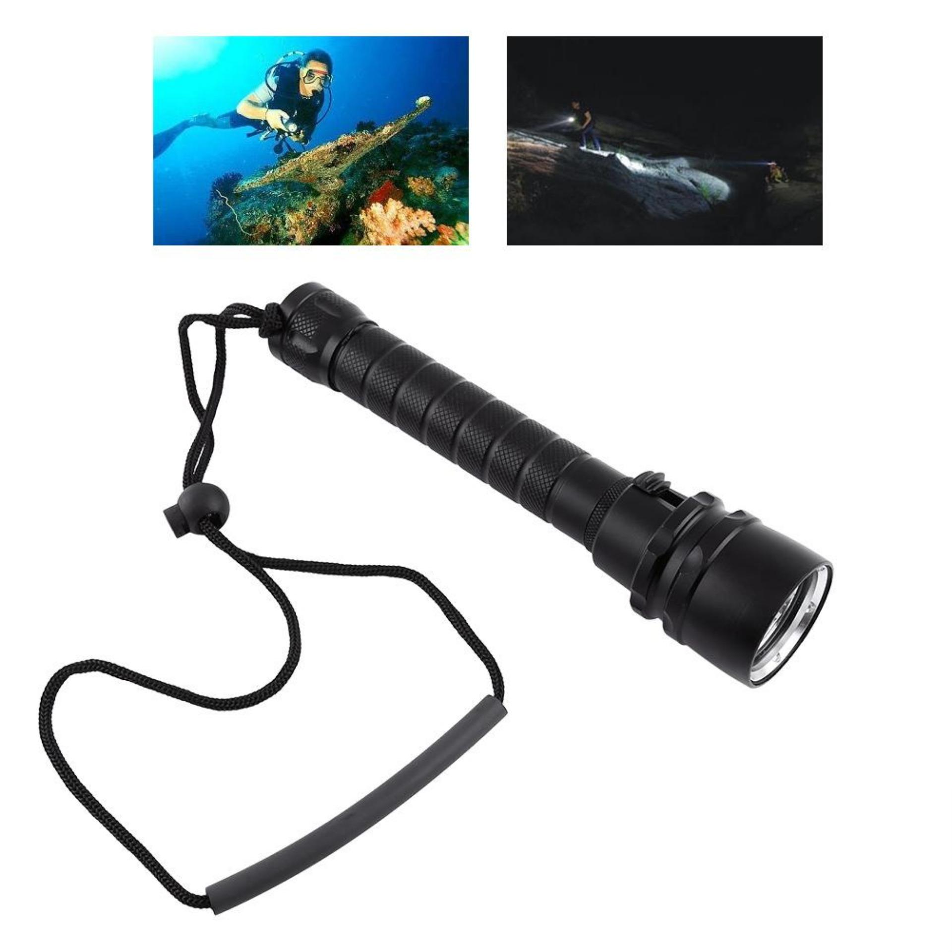 8000LM Underwater 100m 3 x T6 Diving Flashlight Dive Torch With Hand Strap  - intl