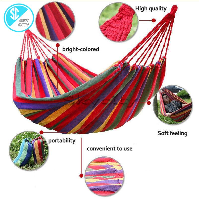 Ds87 Portable Cotton Rope Outdoor Hammock Duyan By Skycity.